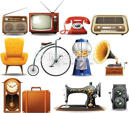 Muchos tipos de objetos antiguos arte vectorial thinkstock for Compra de objetos antiguos