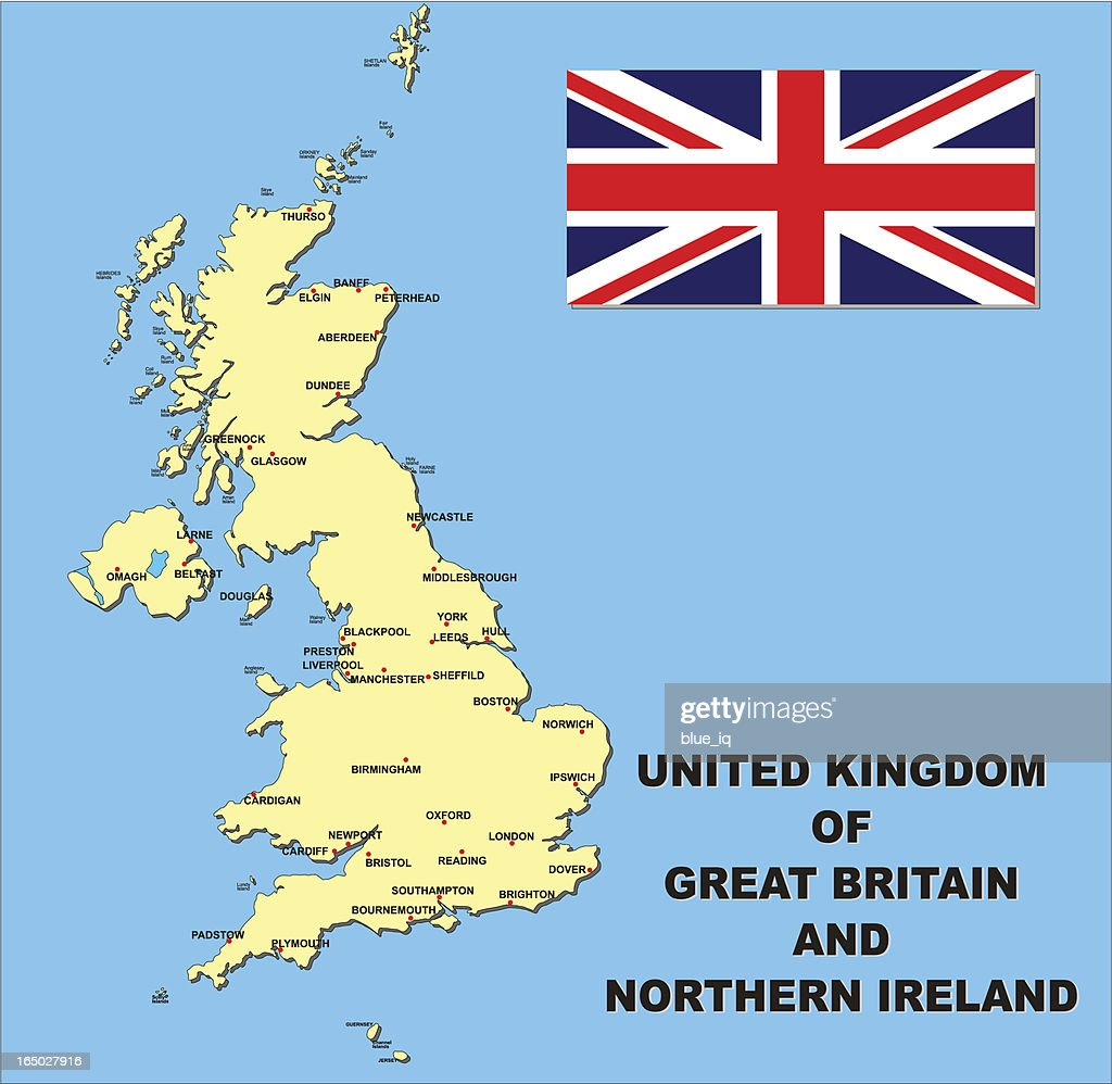 map and flag of united kingdom great britain northern vector art