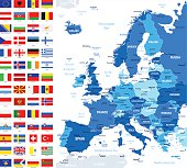 Vector Set of Flat European Flags and Map
