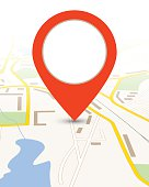 Map gps background with big red pin pointer vector illustration