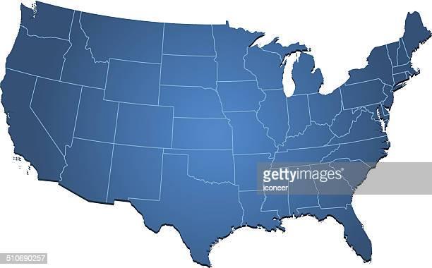 USA map blue on white backgrpund