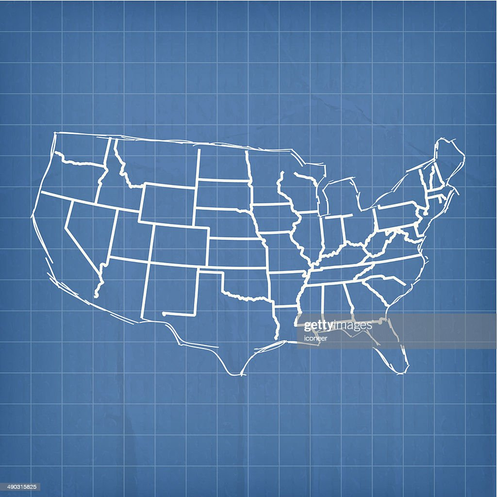 Unity Line Art Map : Usa map blue sketch vector art getty images
