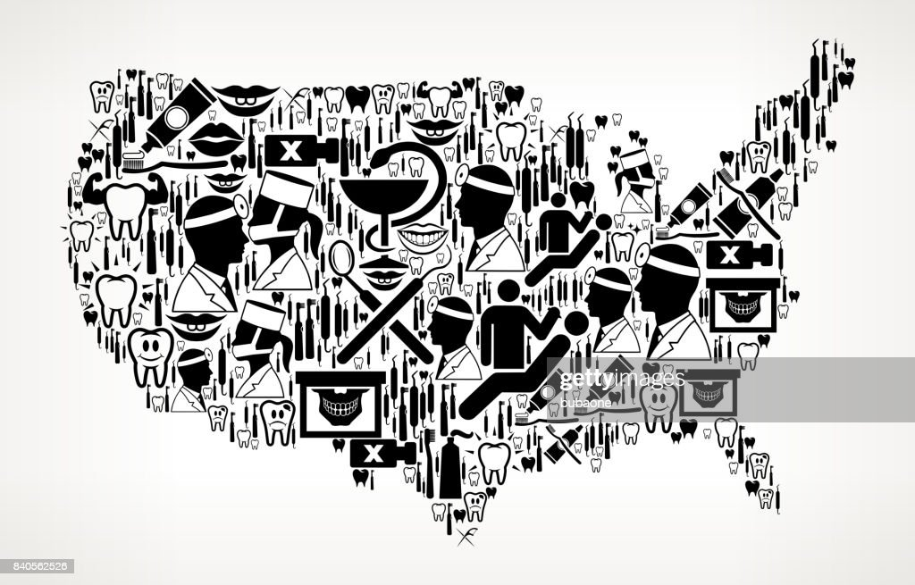 Us Map Dentist And Dental Vector Icon Pattern Vector Art Getty - Us dentist distribution map