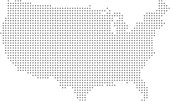 This abstract dotted map of USA is accurately prepared using the overlaid vector map of the US with highly detailed information.