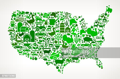Us Map Farming And Agriculture Black Icon Pattern Vector Art - Agriculture in the us map