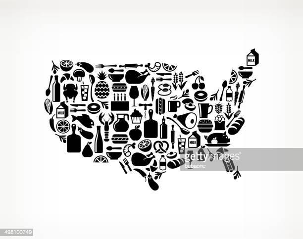 États-Unis carte de boissons & art vectorielles libres de droits