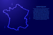 Map France from luminous blue star space points on the contour for banner, poster, greeting card, of vector illustration.
