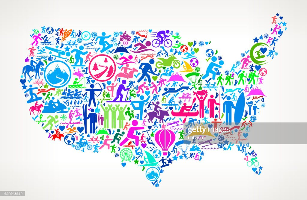 Us Map Fun Adventure Travel Vector Icons Background Vector Art - Fun map of the us