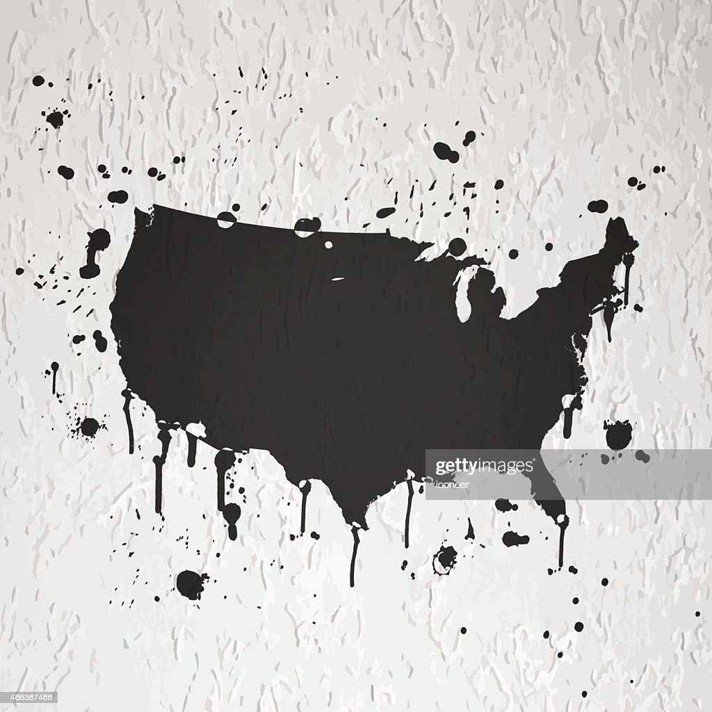 Usa Map Graffiti Red Splats On Black Wall Vector Art Getty Images