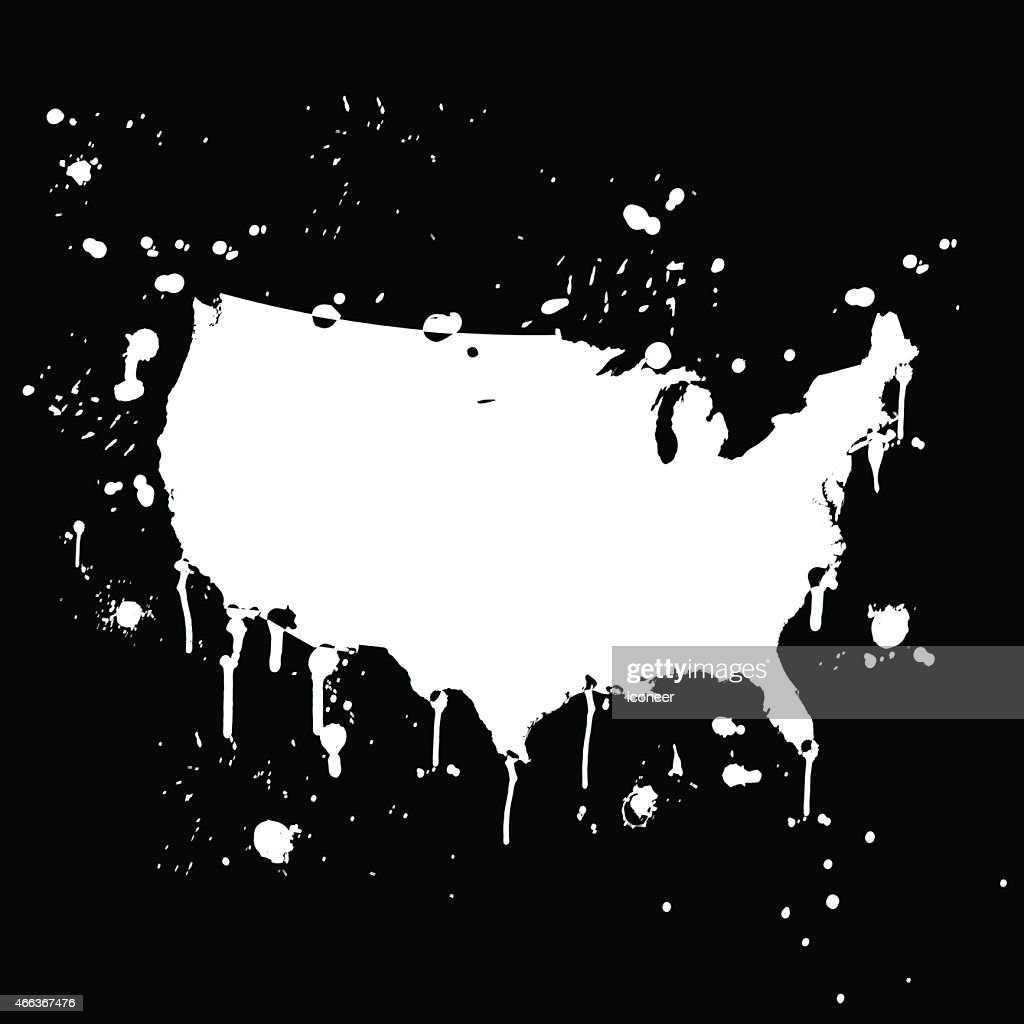 Usa Map Graffiti White Splats On Black Wall Vector Art Getty Images - Black and white usa map