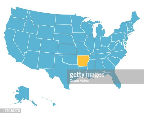 Usa Map Highlighting State Of Arkansas Vector Vector Art Getty - Clip art us map