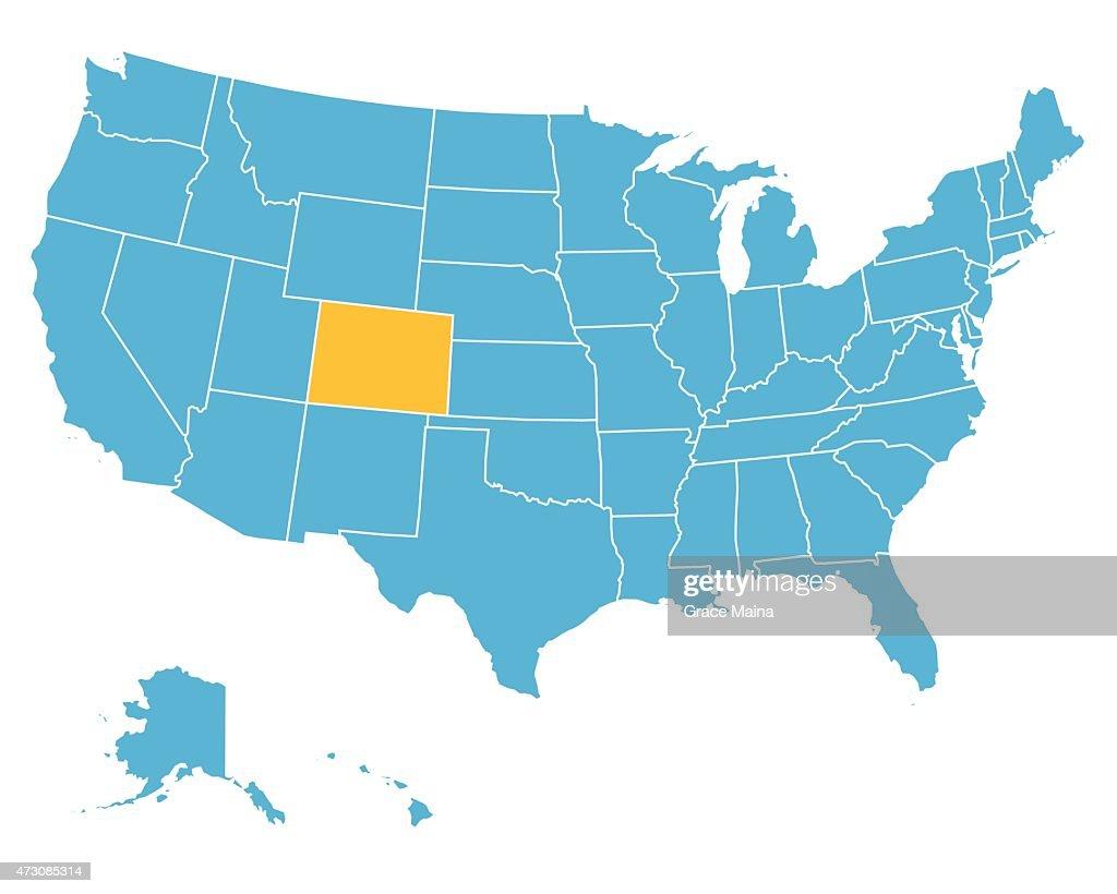 Usa Map Highlighting State Of Colorado Vector Vector Art Getty - Colorado usa map