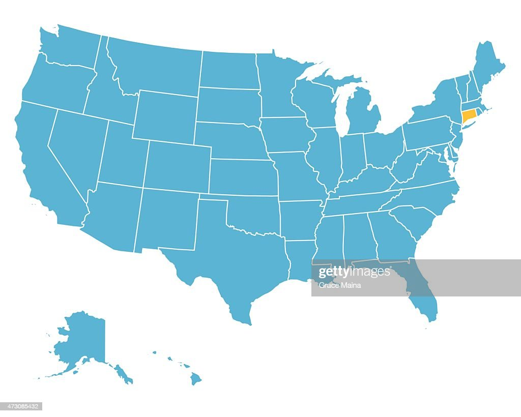 Usa Map Highlighting State Of Connecticut Vector Vector Art - Map usa connecticut