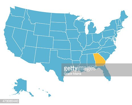 Yellow Map Of Usa With Georgia State Isolated In Red Vector Art - Georgia in usa map