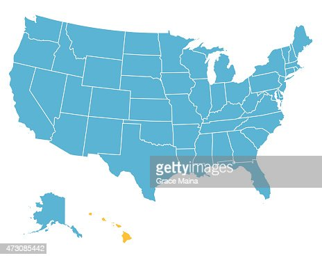 Usa Map Highlighting State Of Hawaii Vector Vector Art Getty Images - Us map and hawaii