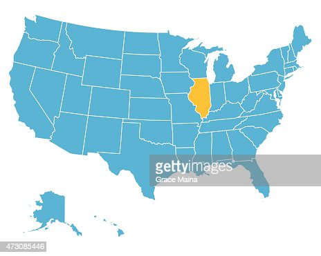 Usa Map Highlighting State Of Illinois Vector Vector Art Getty - Illinois on the us map