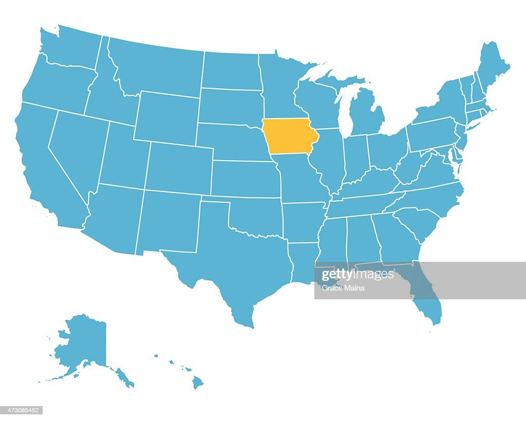 Usa Map Highlighting State Of Iowa Vector Vector Art Getty Images - Map usa iowa