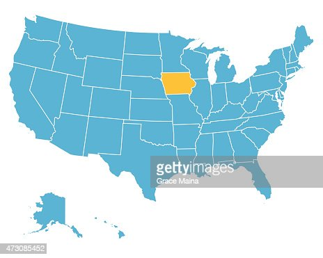 Usa Map Highlighting State Of Iowa Vector Vector Art Getty Images - United states map iowa