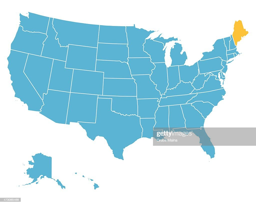 Usa Map Highlighting State Of Maine Vector Vector Art Getty Images - Map state of maine