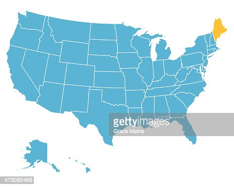 Usa Map Highlighting State Of Maine Vector Vector Art Getty Images - Maine us map