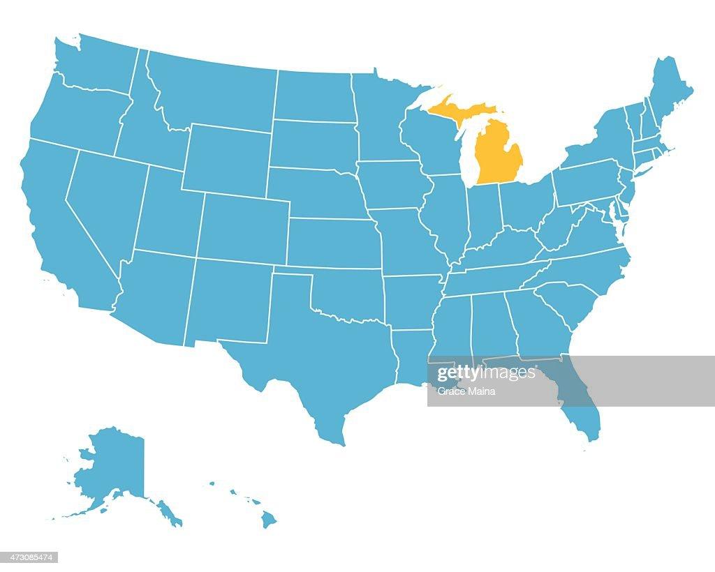 Usa Map Highlighting State Of Michigan Vector Vector Art Getty - Michigan state usa map