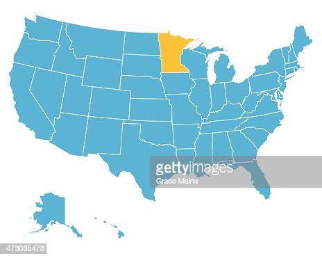 Usa Map Highlighting State Of Minnesota Vector Vector Art Getty - Minnesota map usa