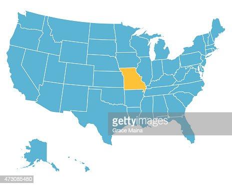 Usa Map Highlighting State Of Missouri Vector Vector Art Getty - Missouri us map