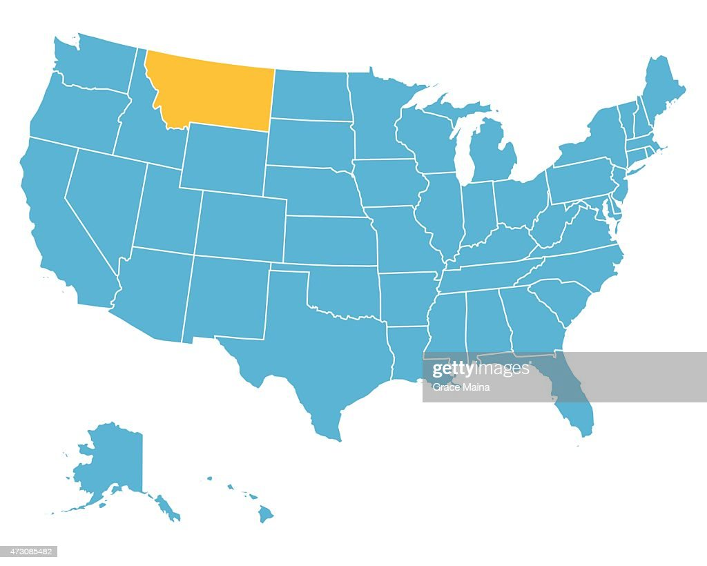Usa Map Highlighting State Of Montana Vector Vector Art Getty Images - Montana usa map