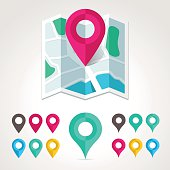 Flat map icon. Vector