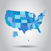 USA map icon. Business cartography concept United States of America pictogram. Vector illustration on white background.