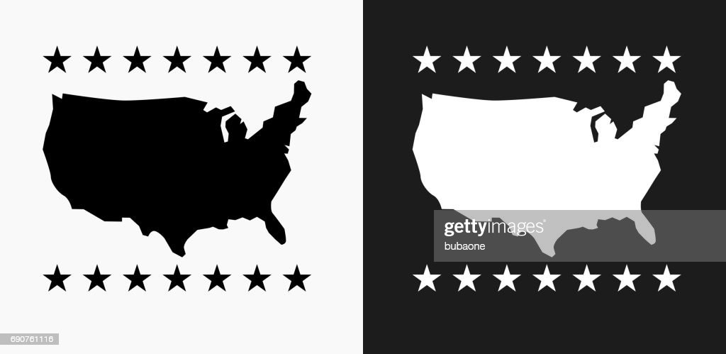 Usa Map Icon On Black And White Vector Backgrounds Vector Art - Usa map black
