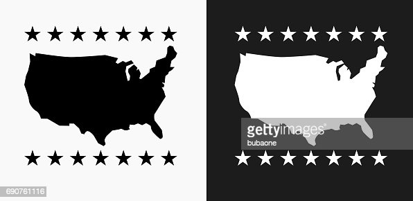 United States Map Icon On Black And White Vector Backgrounds - Us map icon