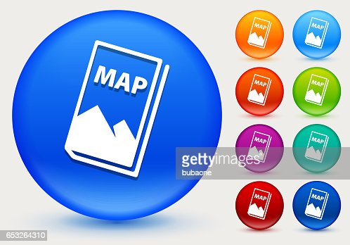 Map Icon on Shiny Color Circle Buttons : Vectorkunst