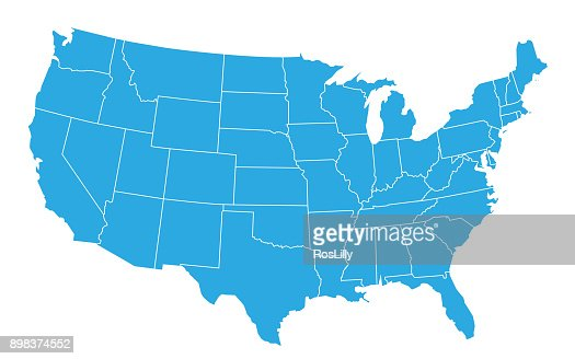 USA map isolated on white background. United States of America country. Vector : Vector Art