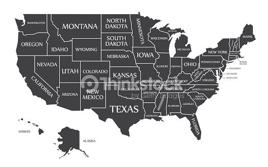 Usa Map Black.Usa Map Labelled Black Vector Art Thinkstock