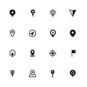 Map location icon set, pointers symbols, ideal for website design, vector illustration graphic