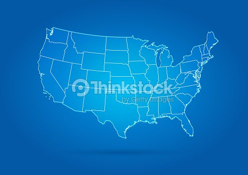 미국 지도 현대적인 스타일 블루 : 벡터 아트