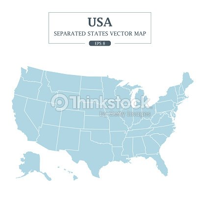 USA Map Mono Color High Detail Separated all states Vector Illustration : stock vector