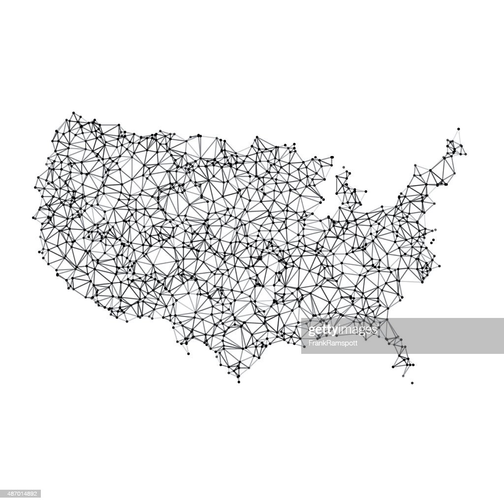 Usa Map Network Black And White Vector Art Getty Images - Black and white usa map