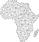 Map of Africa from polygonal black lines and dots of vector illustration