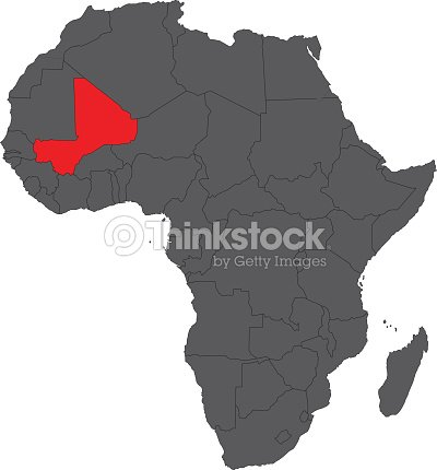 Map Of Africa On Gray With Red Mali Vector Vector Art Thinkstock