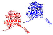 Sketch Alaska (United States of America) letter text map, Alaska map - in the shape of the continent, Map Alaska - red and blue vector illustration