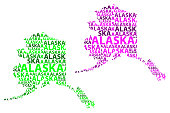 Sketch Alaska (United States of America, The Last Frontier) letter text map, Alaska map - in the shape of the continent, Map Alaska - green and purple vector illustration