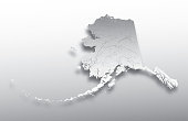 U.S. states - map of Alaska with paper cut effect. Hand made. Rivers and lakes are shown. Please look at my other images of cartographic series - they are all very detailed and carefully drawn by hand