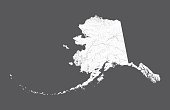 U.S. states - map of Alaska. Hand made. Rivers and lakes are shown. Please look at my other images of cartographic series - they are all very detailed and carefully drawn by hand WITH RIVERS AND LAKES