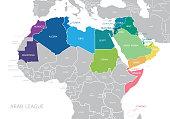 Map of Arab League. Vector. The Arab League member states are as follows; Algeria, Bahrain, Comoros, Djibouti, Egypt, Iraq, Jordan, Kuwait, Lebanon, Libya, Mauritania, Morocco, Oman, Palestine, Qatar,