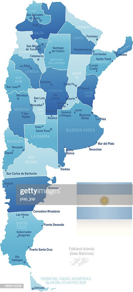 Map Of Argentina States Cities And Flag Vector Art Getty Images - Argentina map cities