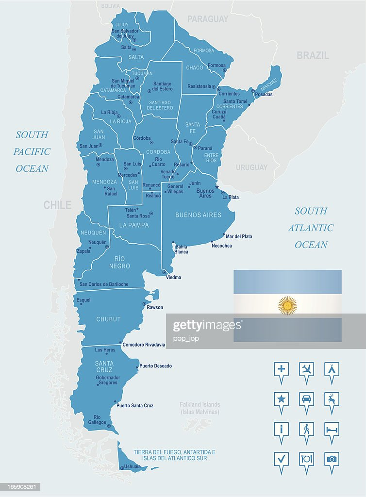 Map Of Argentina States Cities Flag And Navigation Icons Vector - Argentina map vector