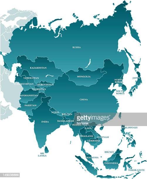 Karte von Asien: Mit Labels versehen wird