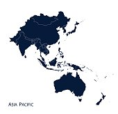 Map of Asia Pacific, Vector.